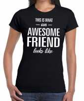 Awesome friend cadeau zwart dames t-shirt