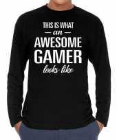 Awesome geweldige gamer cadeau long sleeves heren t-shirt
