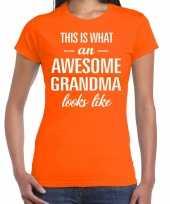 Awesome grandma oma cadeau oranje dames t-shirt