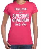 Awesome grandma oma cadeau roze dames t-shirt
