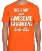 Awesome grandpa opa cadeau oranje heren vaderdag t-shirt