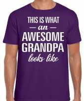 Awesome grandpa opa cadeau paars heren vaderdag t-shirt