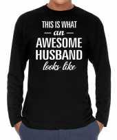 Awesome husband man cadeau long sleeves heren t-shirt