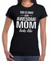Awesome mom tekst zwart dames t-shirt