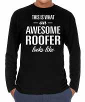 Awesome roofer dakdekker cadeau long sleeves heren t-shirt