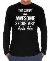 Awesome secretary secretaris cadeau long sleeves heren t-shirt