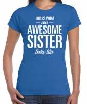 Awesome sister tekst blauw dames t-shirt