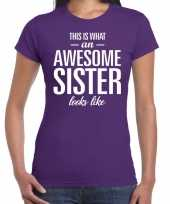 Awesome sister tekst paars dames t-shirt