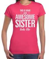 Awesome sister tekst roze dames t-shirt