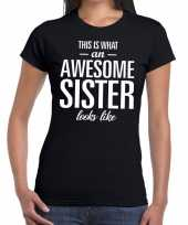 Awesome sister tekst zwart dames t-shirt
