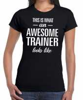 Awesome trainer cadeau zwart dames t-shirt
