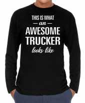 Awesome trucker vrachtwagenchauffeur cadeau long sleev t-shirt