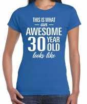 Awesome year jaar cadeau blauw dames t-shirt 10200325