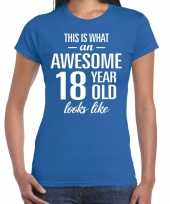 Awesome year jaar cadeau blauw dames t-shirt