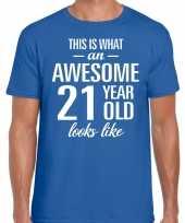 Awesome year jaar cadeau blauw heren t-shirt 10199968