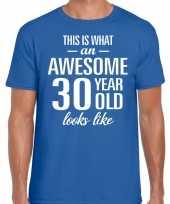 Awesome year jaar cadeau blauw heren t-shirt 10199994