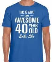 Awesome year jaar cadeau blauw heren t-shirt 10200012