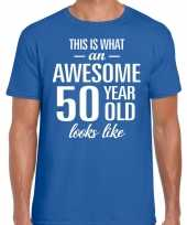 Awesome year jaar cadeau blauw heren t-shirt 10200021