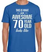 Awesome year jaar cadeau blauw heren t-shirt 10200060