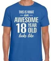 Awesome year jaar cadeau blauw heren t-shirt