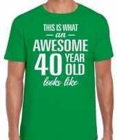 Awesome year jaar cadeau groen heren t-shirt 10200014