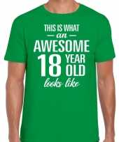 Awesome year jaar cadeau groen heren t-shirt