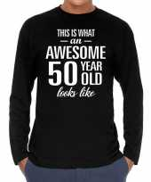 Awesome year jaar cadeau long sleeves zwart heren t-shirt 10195940