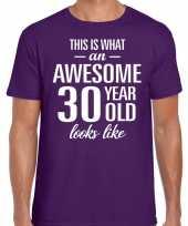 Awesome year jaar cadeau paars heren t-shirt 10199999