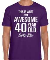 Awesome year jaar cadeau paars heren t-shirt 10200015
