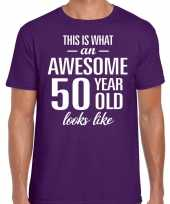 Awesome year jaar cadeau paars heren t-shirt 10200026