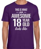 Awesome year jaar cadeau paars heren t-shirt