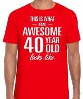Awesome year jaar cadeau rood heren t-shirt 10200016
