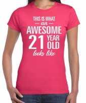 Awesome year jaar cadeau roze dames t-shirt 10200312