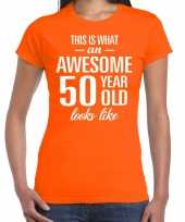 Awesome year sarah cadeau oranje dames t-shirt