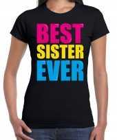 Best sister ever beste zus ooit fun zwart dames t-shirt