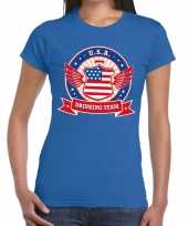 Blauw usa drinking team dames t-shirt