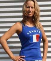 Blauwe dames tanktop frankrijk t-shirt