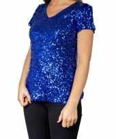 Blauwe glitter pailletten disco dames t-shirt
