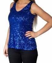 Blauwe glitter pailletten disco topje mouwloos dames t-shirt
