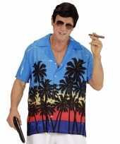 Blauwe maffiabaas verkleed blouse palmboomprint heren t-shirt
