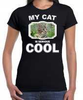 Bruine kat katten poezen my cat is serious cool zwart dames t shirt