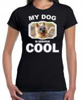 Cairn terrier honden my dog is serious cool zwart dames t-shirt