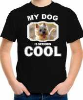 Cairn terrier honden my dog is serious cool zwart kinderen t shirt