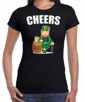 Cheers st patricks day kostuum zwart dames t-shirt