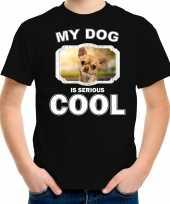 Chihuahua honden my dog is serious cool zwart kinderen t shirt 10246470