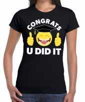 Congrats u did it geslaagd afgestudeerd zwart dames t-shirt
