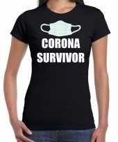 Corona survivor zwart dames t-shirt