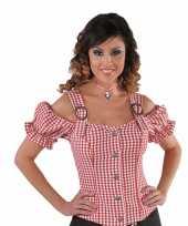 Cowboy blouse off shoulder dames rode ruit t-shirt