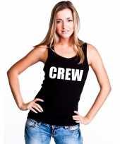 Crew tekst single tanktop zwart dames t-shirt