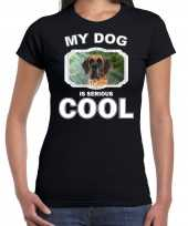 Deense dog honden my dog is serious cool zwart dames t-shirt